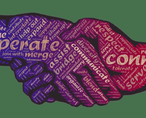 Poignée de main avec messages en anglais