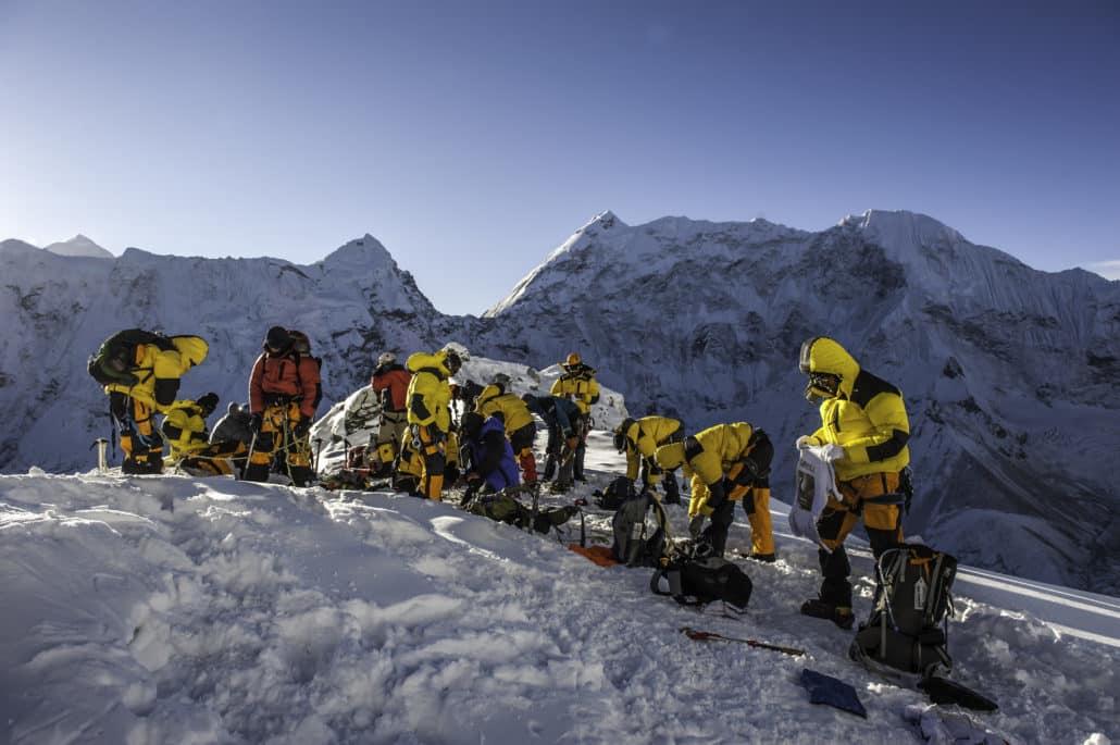 Groupe de haute montagne en pause