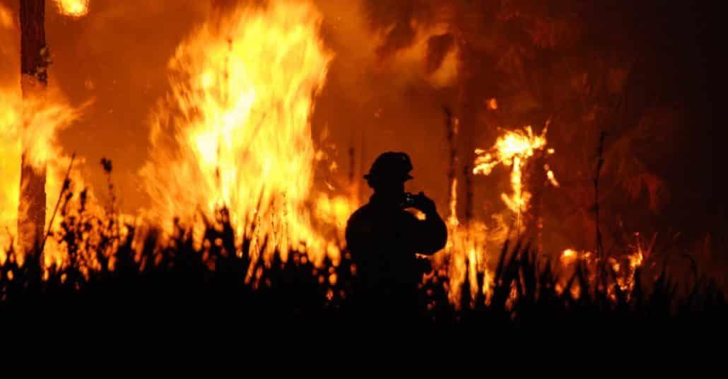 pompier face à un feu de forêt